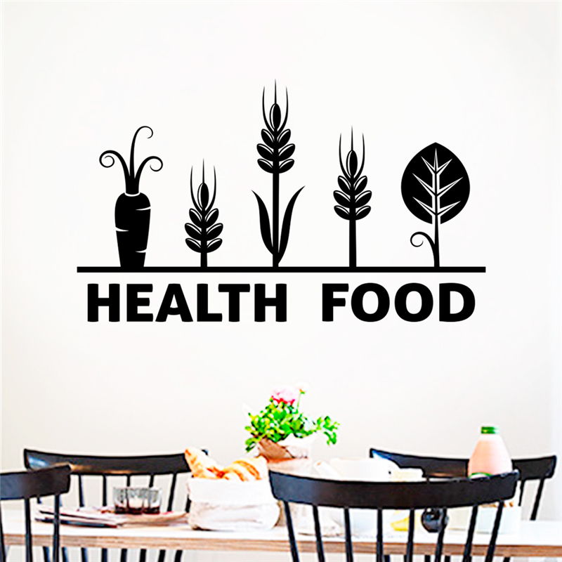 Kitchen Poster Food As Alphabet With Food Name: Creative Health Food Letters Black Wall Stickers Kitchen
