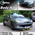 Deflector pára Lábio Lábios Para Peugeot 206/Naza 206 Spoiler Dianteiro saia Para Top Gear Amigos Opinião Do Carro Sintonia/Body Kit/tira