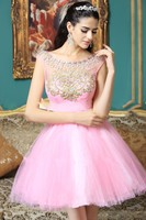New Short Mini Pink Prom Dress 2016 Puffy Tulle Beading Embroidery Cap Sleeves Cute 8th Graduation
