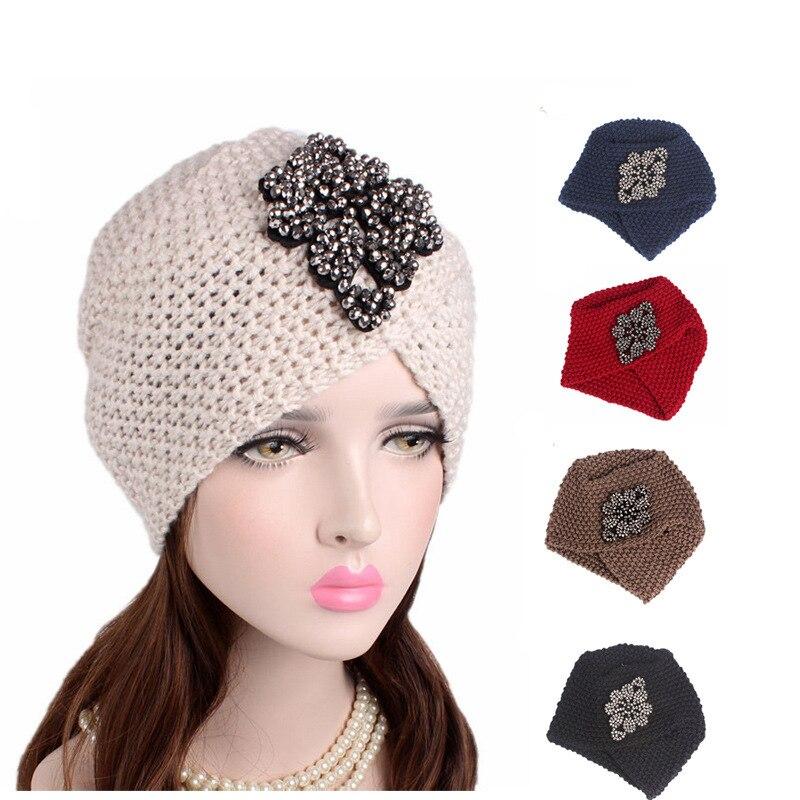 Muslim Women Cross Rhinestone Winter Warm Wool Knit Turban Hat Beanie Sleep Chemo Headwear Cancer Patients Hair Accessories