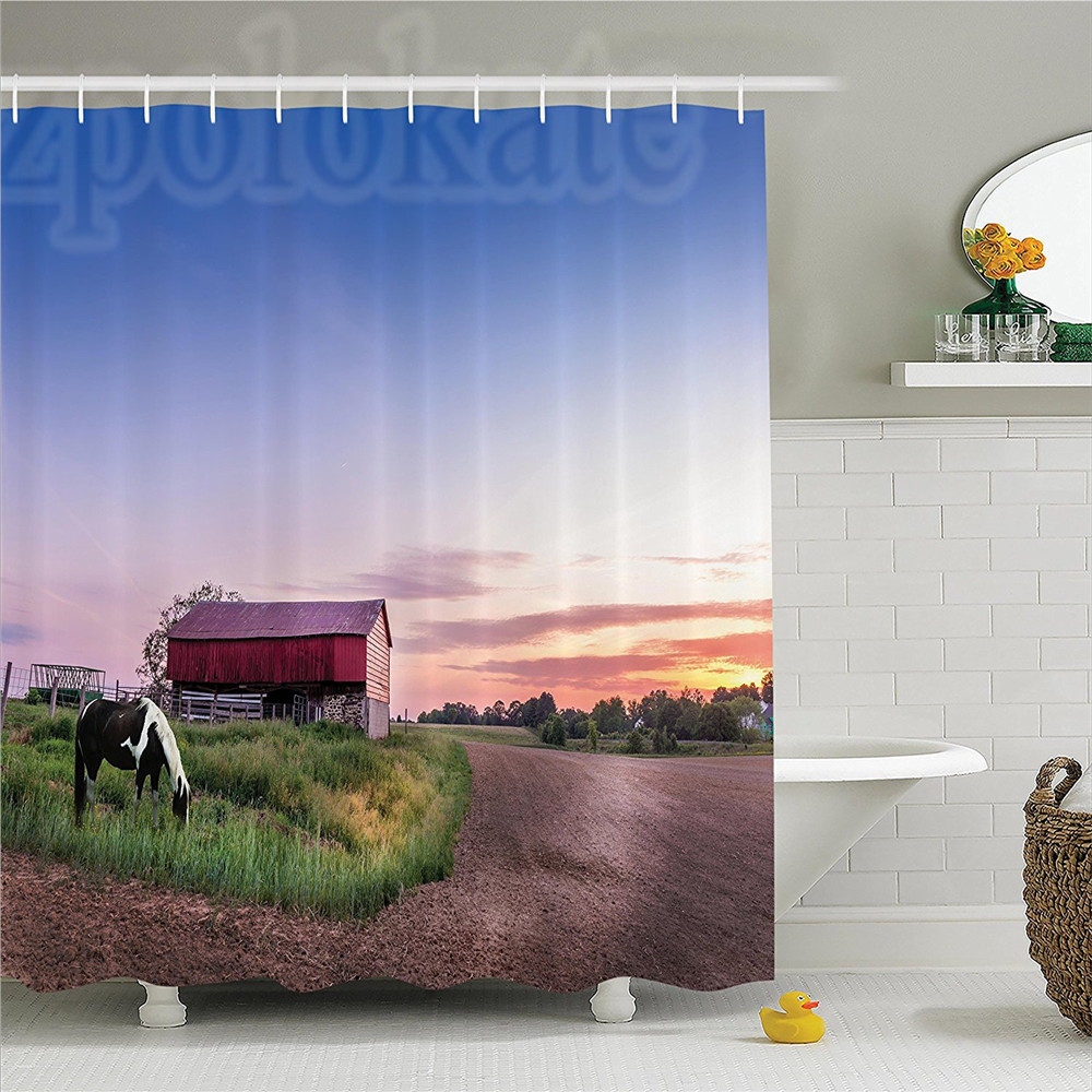 Farmhouse Horse Grazing on a Maryland Farm at Sunset Farmhouse with Distant Forest in Twilight Image Polyester Shower Curtain
