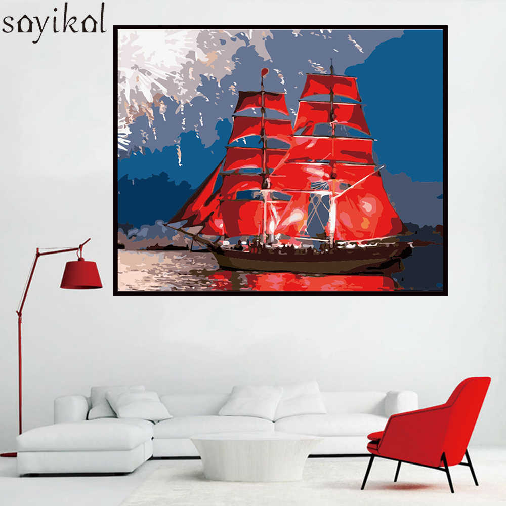 Digital DIY Painting By Numbers Frame Red Sailboat Seascape Home Wall Art Decoration Painting Modern Picture For Artwork 40X50