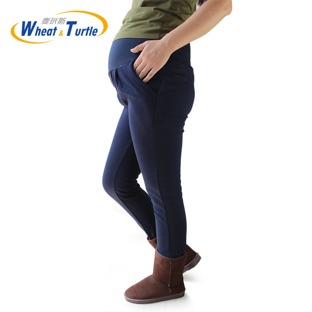 2016 Hot Sale Maternity Warm Pants Good Quality Cotton Pockets Decorated Navy Harlan Pants For Pregnant Women Plus Size XL-4XL