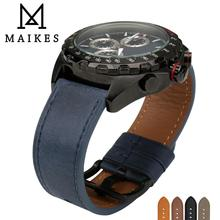 MAIKES Watch Accessories Genuine Leather Strap 24mm 22mm Vintage Blue Band Wrist Bracelets Watchband For Omega