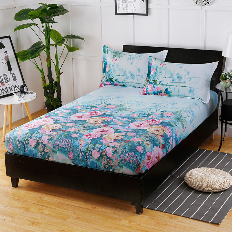 The New Fashion Hot Cotton Flowers Printed Pattern Comfortable Breathable Home Textiles Three - Piece Fitted Sheet+ Pillowcase