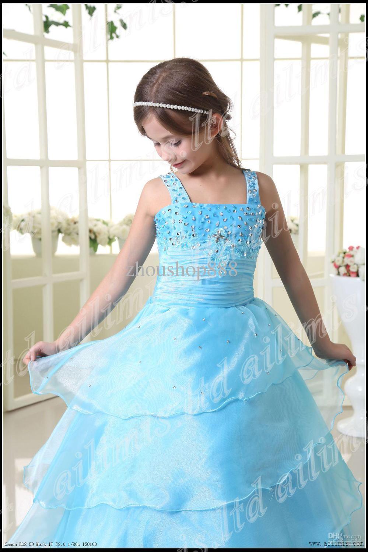 Light Blue Girl Kids Pageant Dress Bridesmaid Dance Party Princess ...