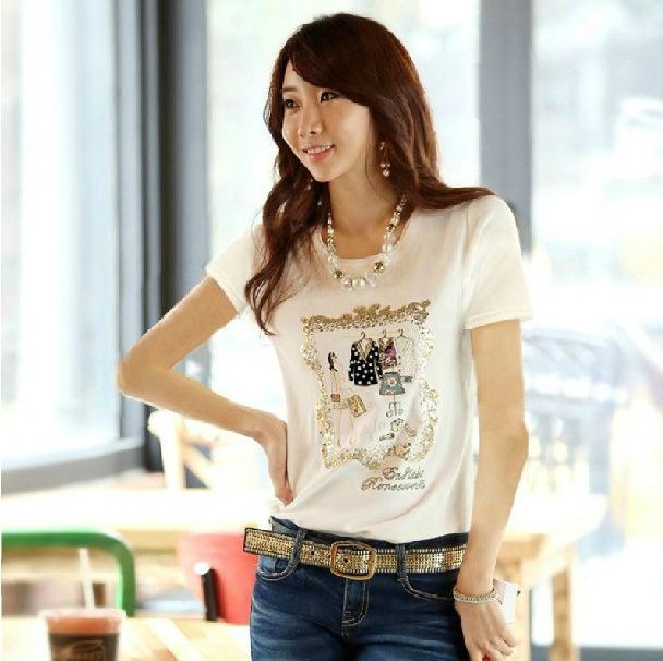 2014 de Corea Del Tamaño Extra Grande XXL Summer Casual camiseta Blanca las mujeres de Manga Corta de Algodón Del O-cuello Delgado de Impresión T-Shirt Mujeres Camisetas Tops