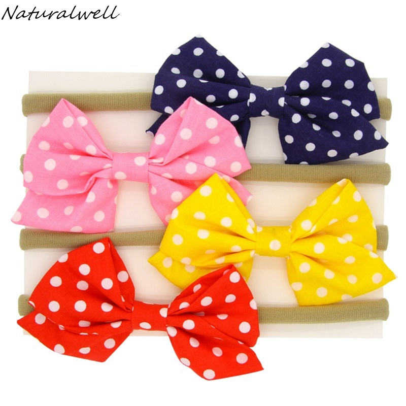 Naturalwell Child Hair Accessories Girls Hair Band Big Bow Headwrap Bowknot Kids Headband Cotton Bow Hairband 1set HB129 купить