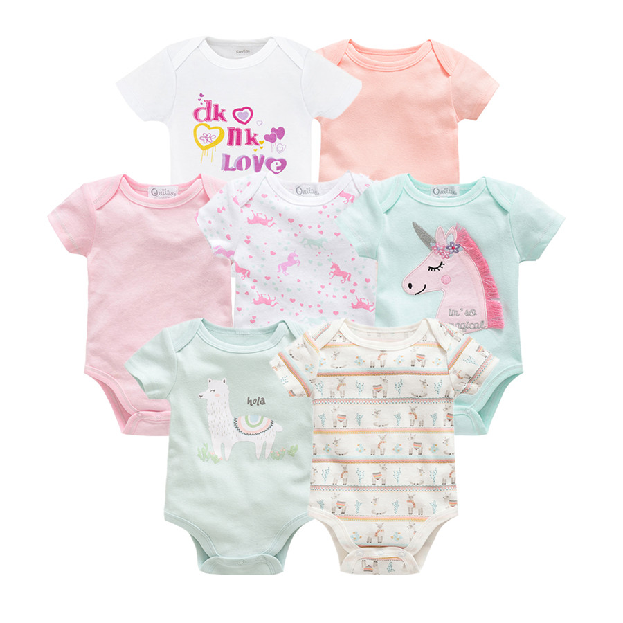 2019 Cute Summer Newborn Baby Bodysuits 7pcs Cartoon Infant Baby Girl Boys Jumpsuit Overalls Macaron Toddler Girl Bebe Coveralls