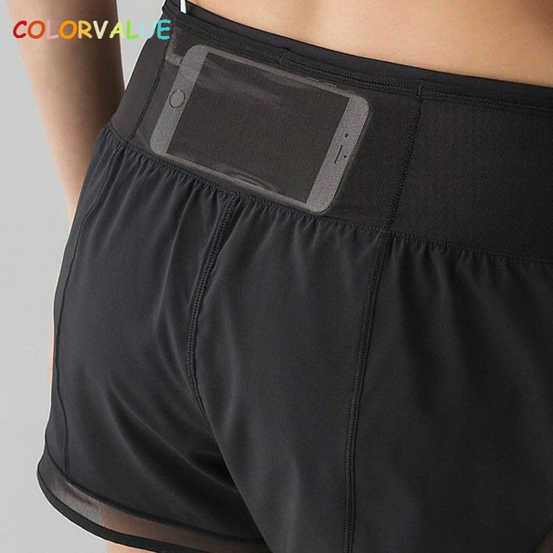 Colorvalue Quick Dry Back Pocket Athletic Shorts Women Mesh Patchwork Fitness Gym Shorts ...