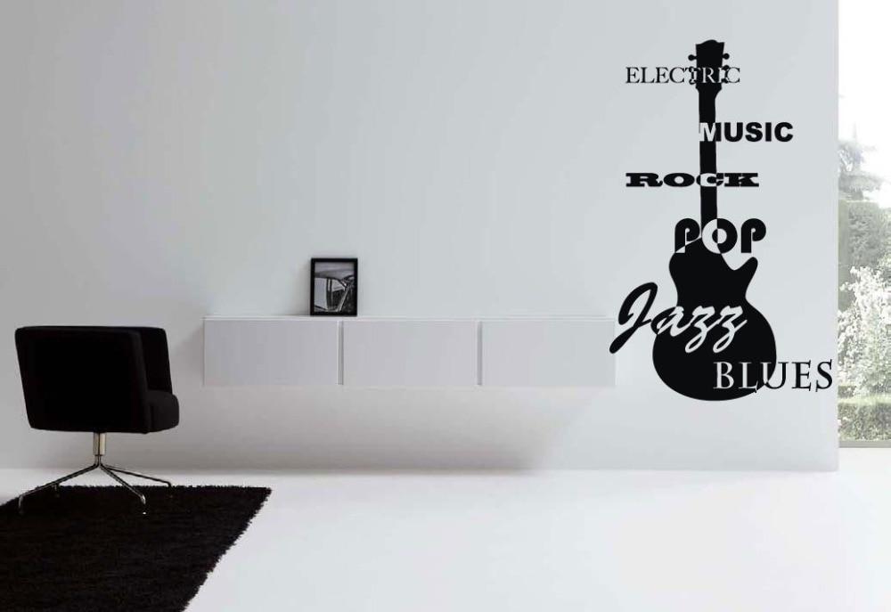 wall vinyl sticker decals mural room design art jazz blues rock guitarchina mainland - Wall Vinyl Designs