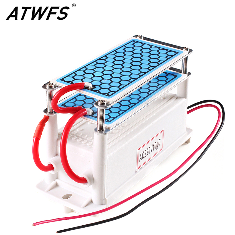 Atwfs Portable Ceramics Ozon Generator 220 V / 110 V 10 g Dual Integrated Long Life Span Keramikplatta Ozonizer Air Water Air Cleaners