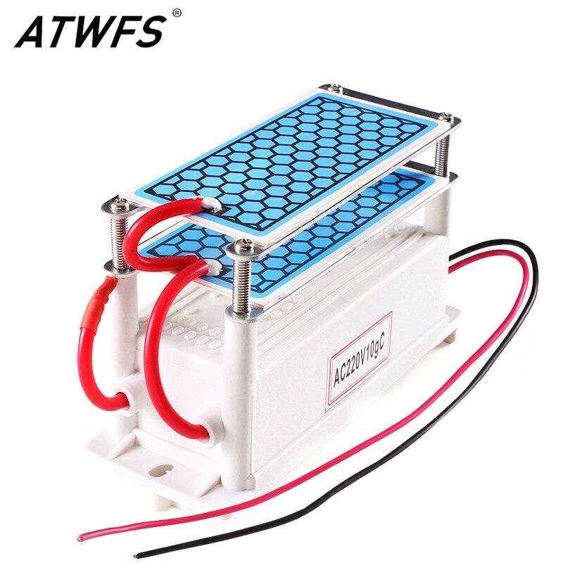 ATWFS Tragbare Keramik Ozon Generator 220 v/110 v 10g Doppel Integrierte Lange Lebensdauer Keramik Platte Ozonisator Luft wasser Luftreiniger