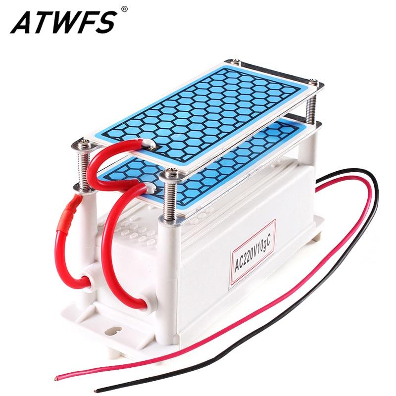 ATWFS portátil generador de ozono de cerámica de 220 V/110 V 10g doble integrado larga vida placa de cerámica ozonizador aire purificador de aire de agua