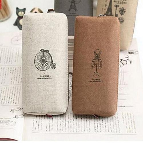 Retro Canvas Makeup Bag Cosmetic Case Coin Pouch Zipper Bag Purse