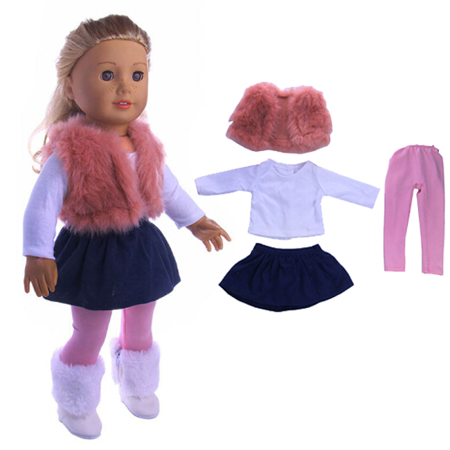 4pcs a set American girl doll clothes set winter coat dress and legging for 18 inch doll suit set for 43cm new born baby dolls