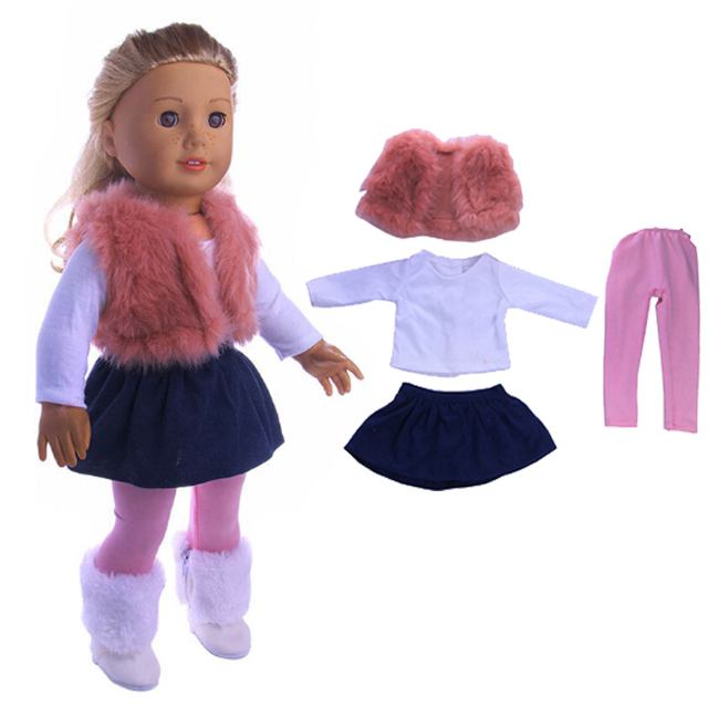 4pcs a set american girl doll clothes set winter coat dress and