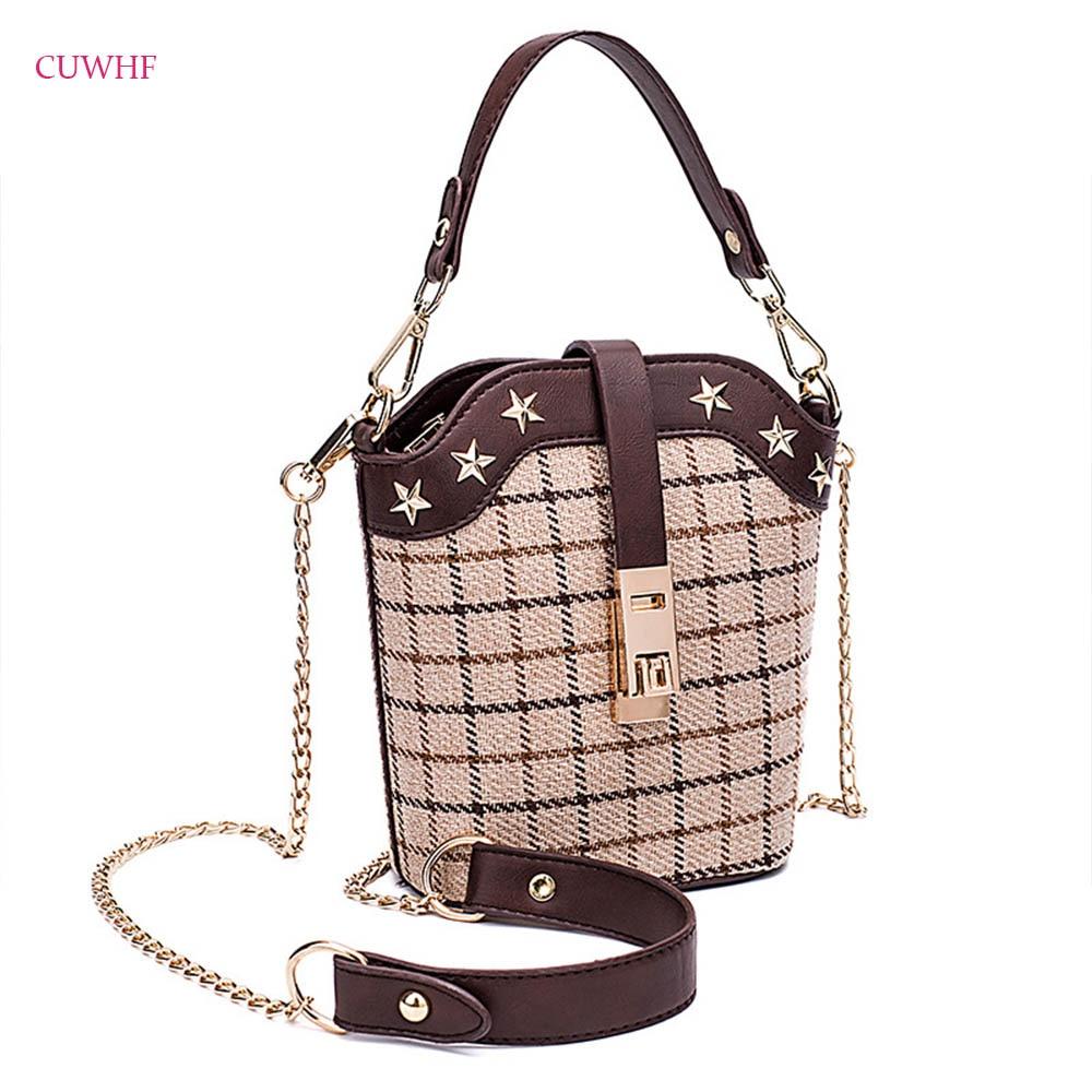 где купить Grid pattern Canvas Fabric Women Messenger Bags High Quality Cross Body Bag Chain Mini Female Shoulder Bag Handbags Bucket bag по лучшей цене