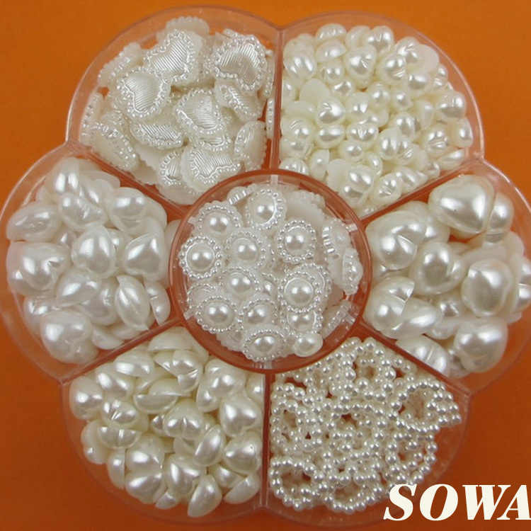 Free Shipping 460PCS Mix Heart Style Size  ivory White Color DIY Half Round imitation Pearl Beads Flat Back Scrapbook Craft