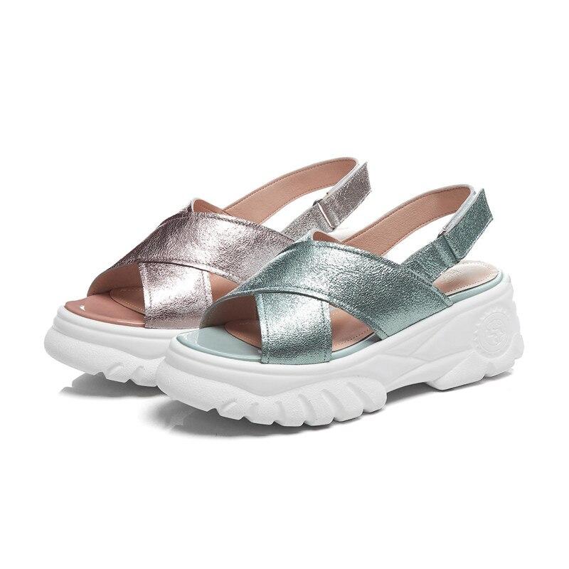 DORATASIA Marke Neue Große Größe 34 42 Echtem Leder Damen High Heels Plattform Schuhe Frau Casual Party Ol Sommer sandalen-in Hohe Absätze aus Schuhe bei  Gruppe 2