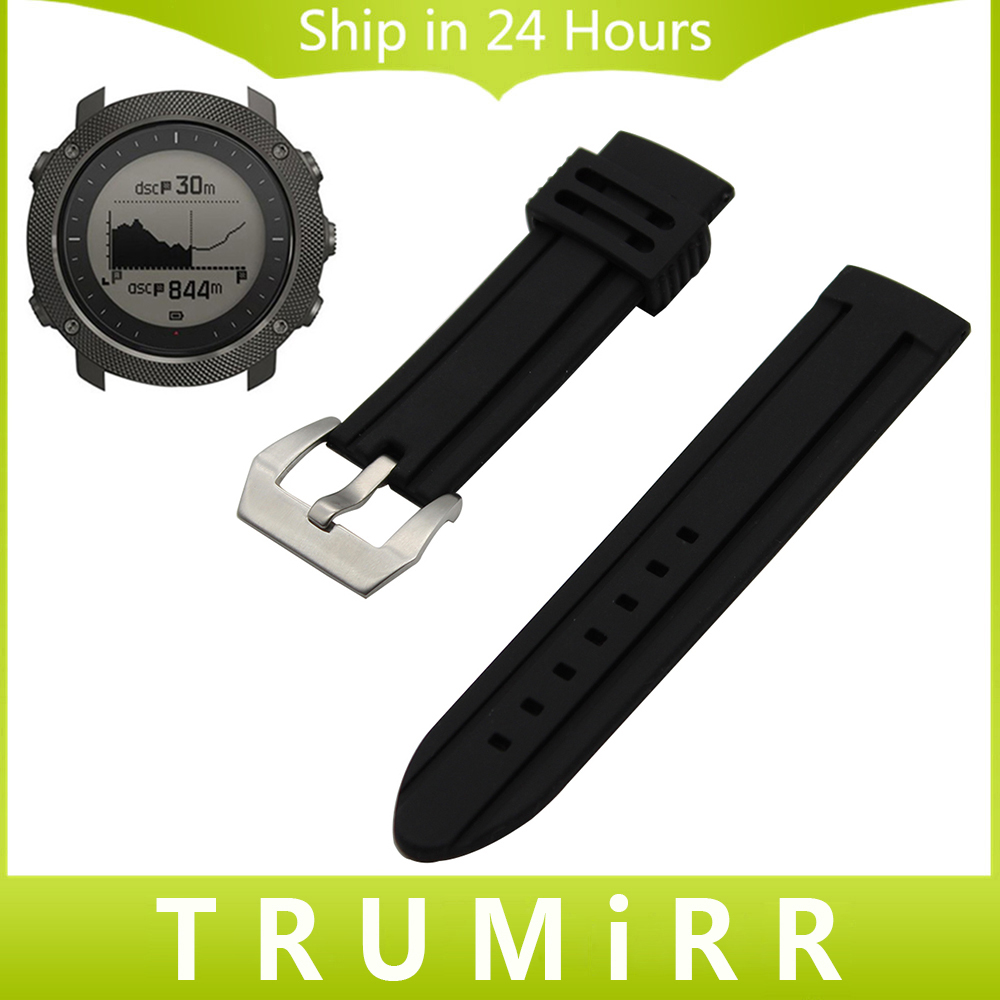 Silicone Rubber Watch Band 24mm + Tool for Suunto TRAVERSE Wrist Strap Double Brush Stainless Steel Buckle Belt Bracelet Black