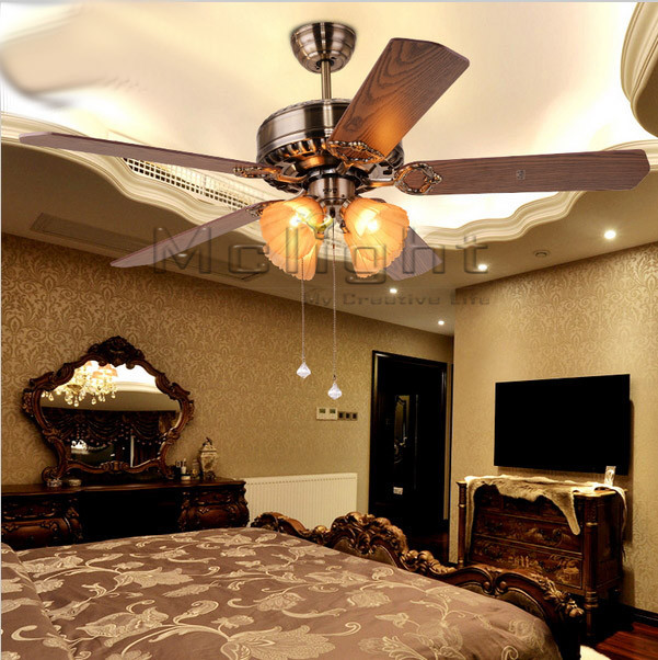 Inexpensive Ceiling Lights: New Arrival Cheap Retro Ceiling Fan Lights 5 Blades 52