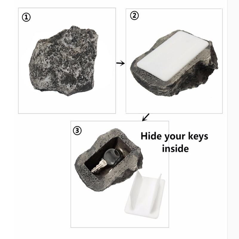 Outdoor Safe Home Key Box Rock Hidden Hide In Stone Security Safe Storage Hiding Garden Outdoor Muddy Mud Spare Key House