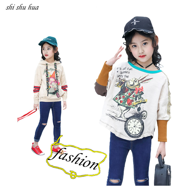 2019 Sale New Autumn Kids Clothing Jacket Girl Fashion Printing Sportswear Tops Cotton T shirt Baby Clothes 4 13age Children in Jackets Coats from Mother Kids
