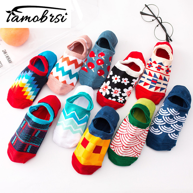 2019 Casual Happy Cotton Spring Summer Funny Sweat Short Socks Geometric Ankle Female Invisible Boat Silicone Socks Slippers