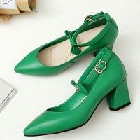 New Fashion Woman Green White High Square Heel Pumps Bowknot Pointed Toe Shoes For Lady