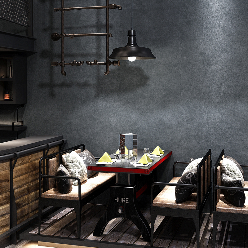 Vintage Industrial Wind Cement Gray Pure Color Wallpaper For Bedroom Cafe Clothing Store PVC Waterproof Vinyl Wall Paper Rolls