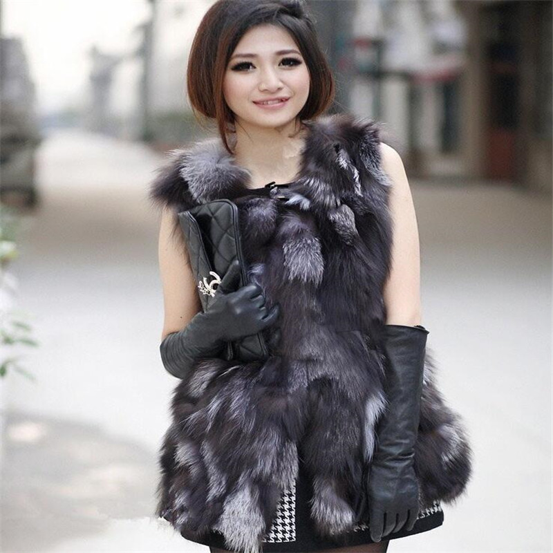CHEWIES Nature Silver Fox Fur Waistcoat For Women Real Fox Fur Vest 2018 New Arrival Fashion Winter Woman Coat With Pockets 2.21