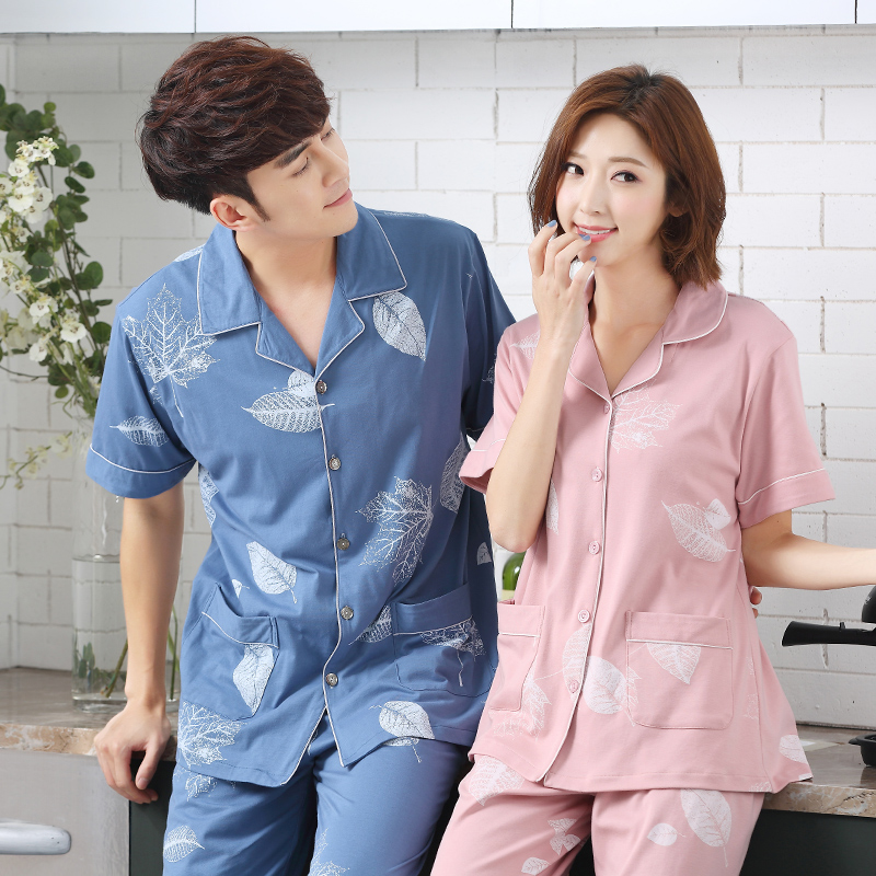 Short Sleeve Tops + Long Pants 2 Pieces Pajamas Sets Women Summer Indoor Clothing For Couples Sleep Lounge Home Wear Sleepwear