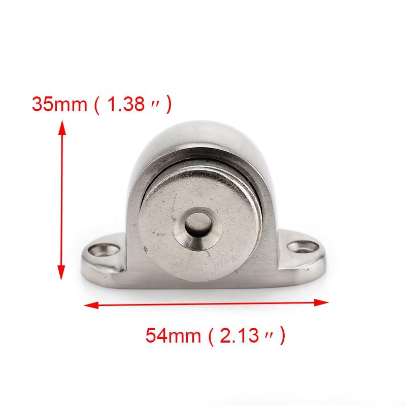 Купить с кэшбэком KAK Zinc Alloy Door Stop Casting Powerful Floor-mounted Magnetic Holder 54mm*35mm Satin Nickel Brushed Door Stopper