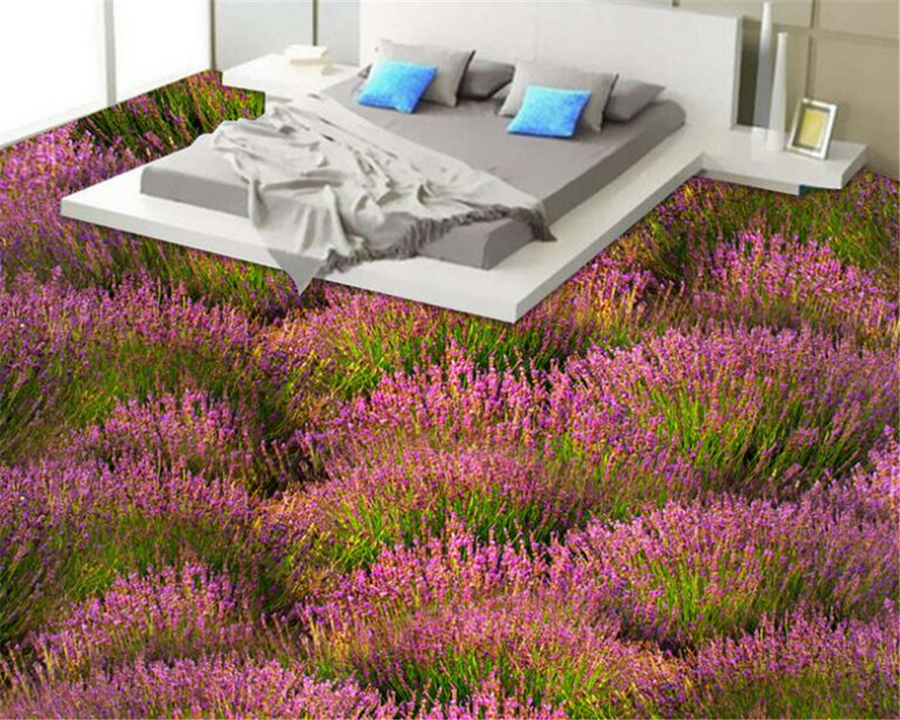 где купить beibehang Custom fashion beautiful wallpaper romantic lavender bathroom living room 3D stereo floor papel de parede wall paper по лучшей цене