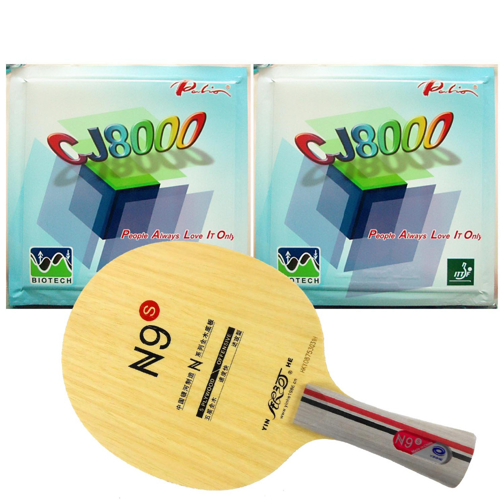 Pro Table Tennis PingPong Combo Racket Yinhe N9s With2 Pcs Palio CJ8000 BIOTECH H42-44 Rubber Long Shakehand FL