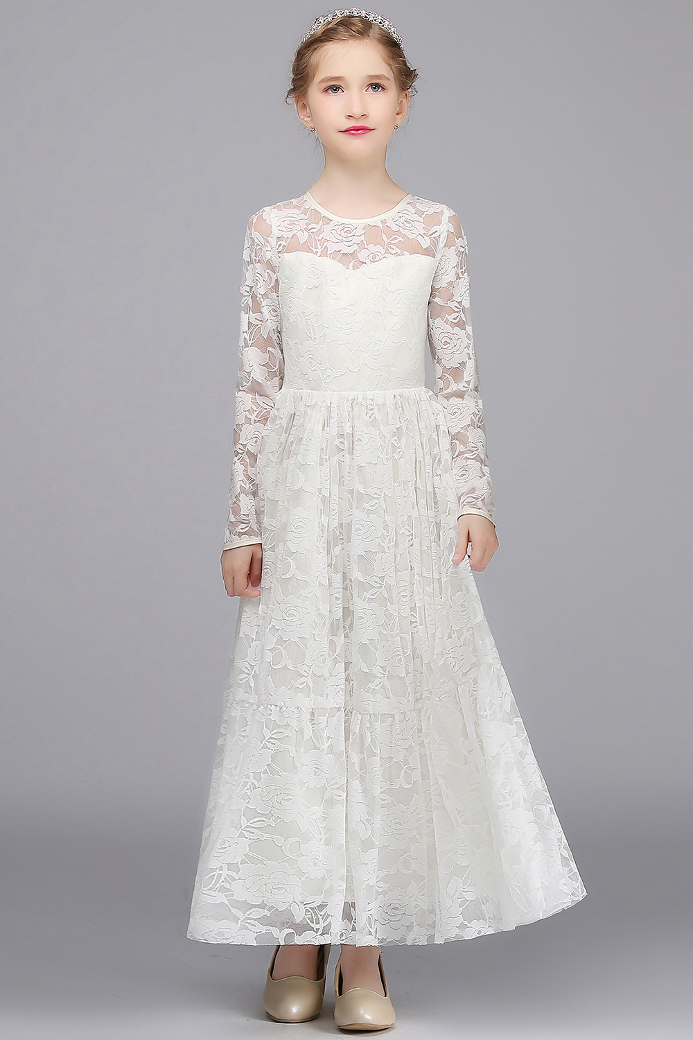 White Flower Girls Dresses For Wedding Sleeveless Lace First Communion Dresses Kids Evening Gowns Tulle Mother Daughter Dresses