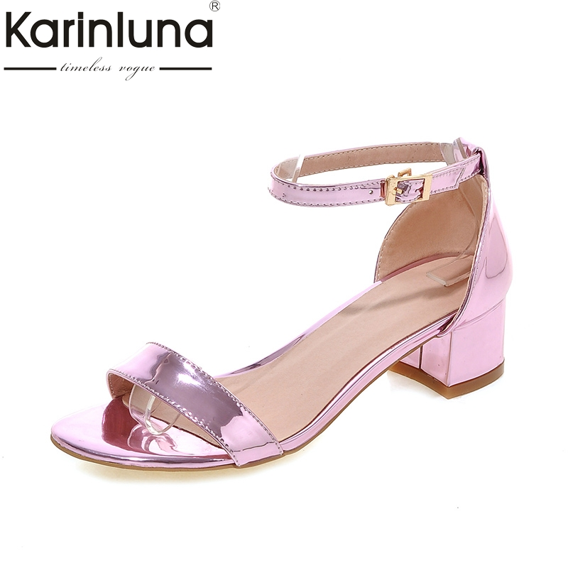 Karinluna 2018 Concise Large Sizes 32-43 Pink Sandals Summer Shoes Woman Fashion Ankle Strap Square Heels Women Shoes karinluna 2018 large size 31 43 fashion ruffles women shoes sandals fashion wedges high heels party summer shoes woman