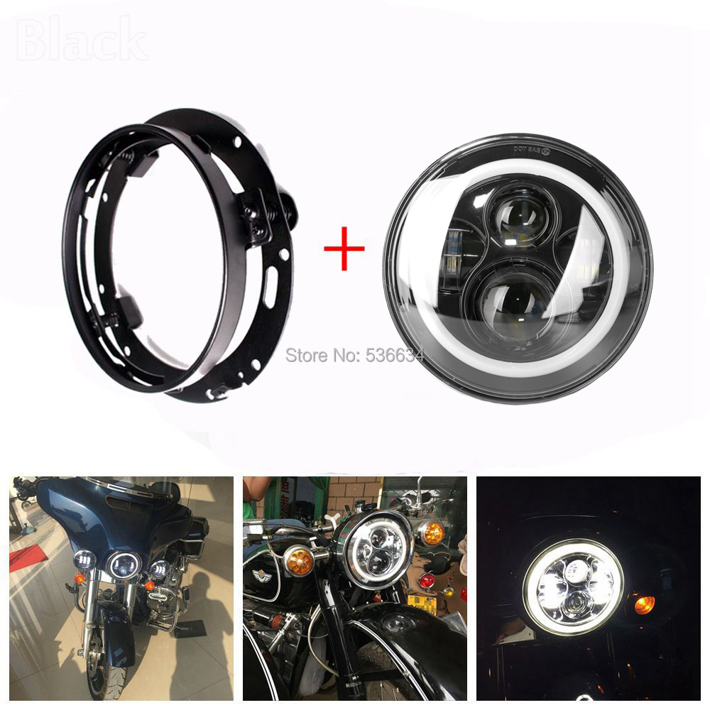 7Inch LED Round Projector Daymaker Headlight Hi/Low + 7 LED Headlight Mounting Bracket Ring For Harley Davidson Softail Slim 7inch led projector daymaker headlight hi low beam led headlight mounting bracket ring for electra glide ultra classic efi