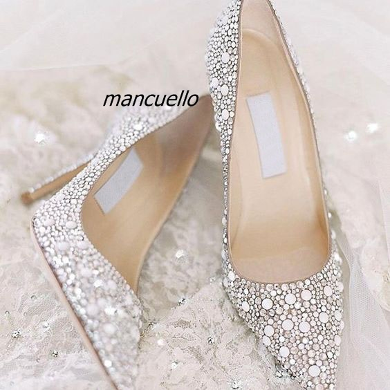 ae22831410e5 Gorgeous Glitter Wedding Shoes Fabric Thin Heel White Crystal Stick Pointy  Toe Stiletto Heel Pumps Sexy Slip-on Dress Shoes