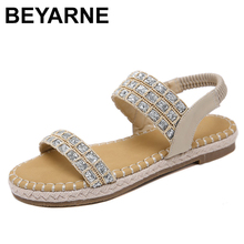 BEYARNE Bohemia Crystal Bling Women Flat Sandals Shoes Women Casual Gladiator Sandals Hemp Rope Weave Soft Plus size SandalsE616