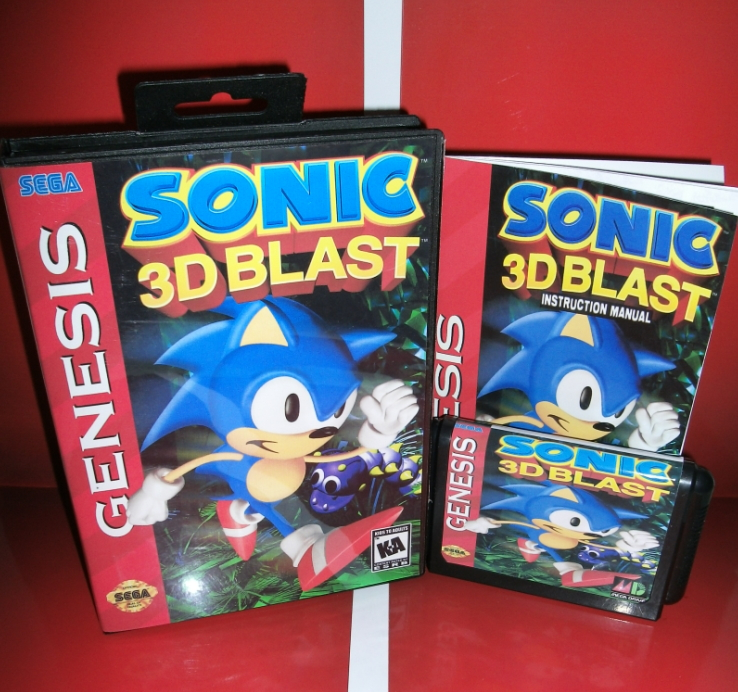 Sega games card - Sonic 3D Blast with box and manual for Sega MegaDrive Video Game Console 16 bit MD card