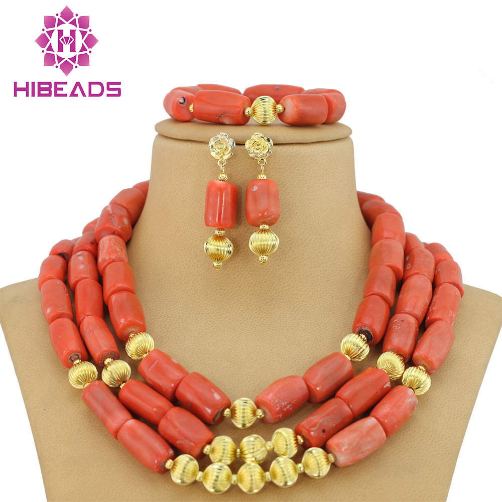 Lastly Made Coral African Beads Jewelry Set 3 Row Red Custom African Wedding & Party Jewelry Set Free Shipping ABS091 free shipping dhl custom made new arrival sexy red pvc zentai catsuit zentai suit for halloween party front zipper zp1508