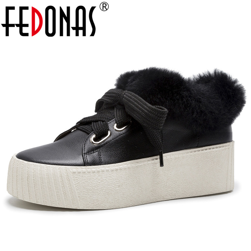 FEDONAS New Women Round Toe Platforms Casual Shoes Woman Lace Up Fur Snow Boots Genuine Leather Sneakers Ladies Flats Shoes foreada genuine leather shoes women flats round toe lace up oxfords shoes real leather casual boat shoes brown pink size 34 40