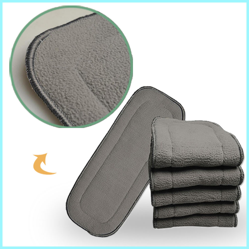 [ New Store Promotion] 100pcs Bamboo Charcoal Inserts Reusable Liners For Pocket Cloth Diapers Absrobent Pads 5- Layers Onsale