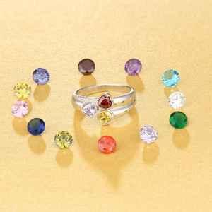 Image 4 - Bague en pierre de naissance personnalisée en argent Sterling 925 pour maman, bijou danniversaire (bijouora RI103260)