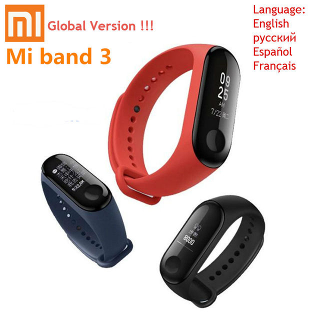 Глобальная версия оригинальный Xiaomi Mi группа 3 умный браслет Bluetooth браслет с пульсометром монитор сна управление Smartwatch