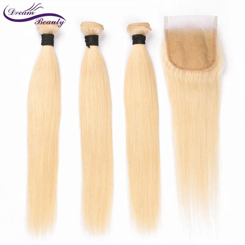 Rêve Beauté péruvienne Remy Cheveux Raides #613 Faisceaux D'armure de Cheveux humains purs blond Couleur Extensions de Trame De Cheveux