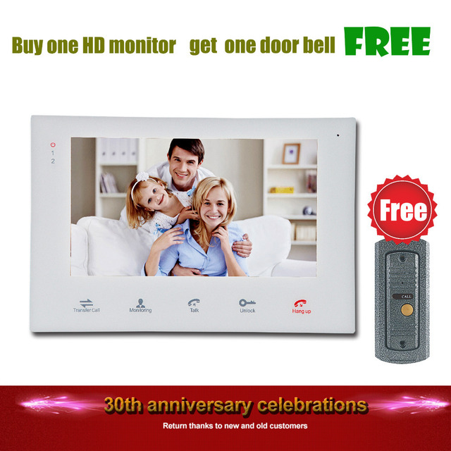 Homefong Buy Monitor Get Doorbell Free7 Inch Wired Touch Video Door Phone Intercom System Doorbell Free 600TVL Monitoring Unlock