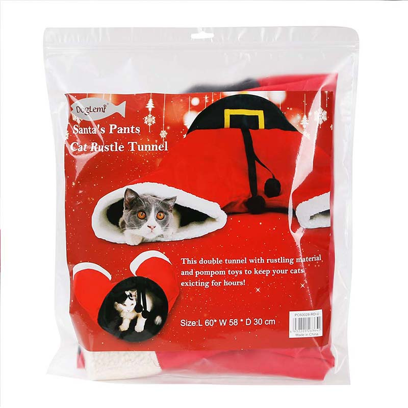 Foldable Christmas Santa Pants Toy Pet Cat Tunnel Collapsible 3 Way Play  Toy Interactive Tube Animal Fun for Cats Kitten